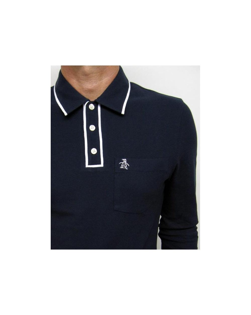 Original Penguin Earl Ls Polo Shirt Navy Tipping Polo Shirt