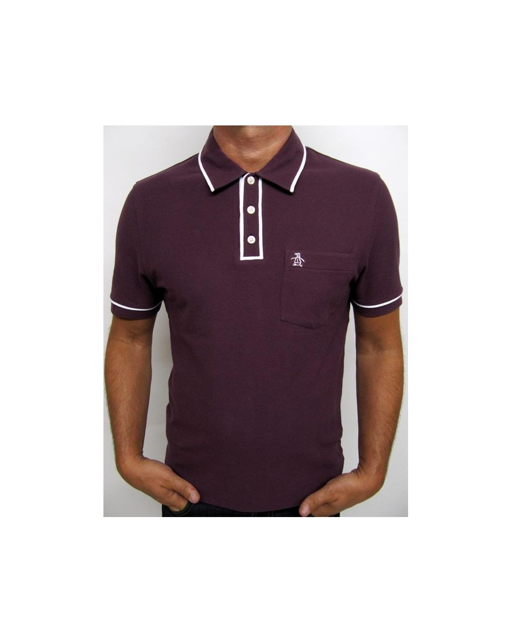 Original Penguin Earl Ss Polo Shirt Plum Tipping Polo Shirt