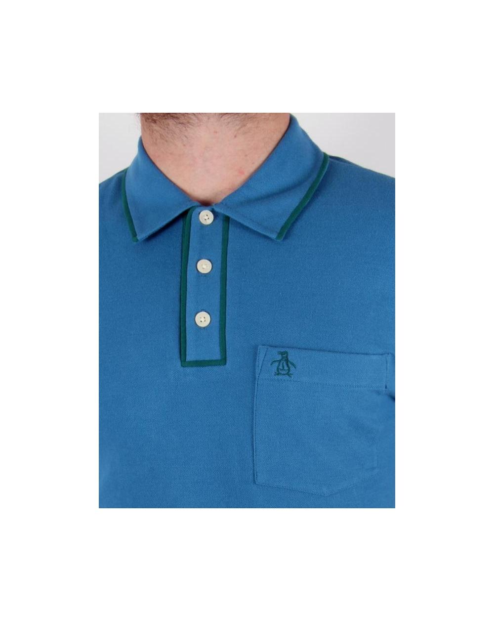 Original Penguin Earl Ss Polo Shirt Vallarta Blue Tipping Polo Shirt