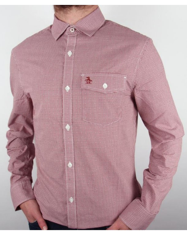 Original Penguin Mini Gingham L/s Shirt Pomegranate