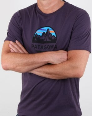 Patagonia Fitz Roy Scope Organic T Shirt Piton Purple