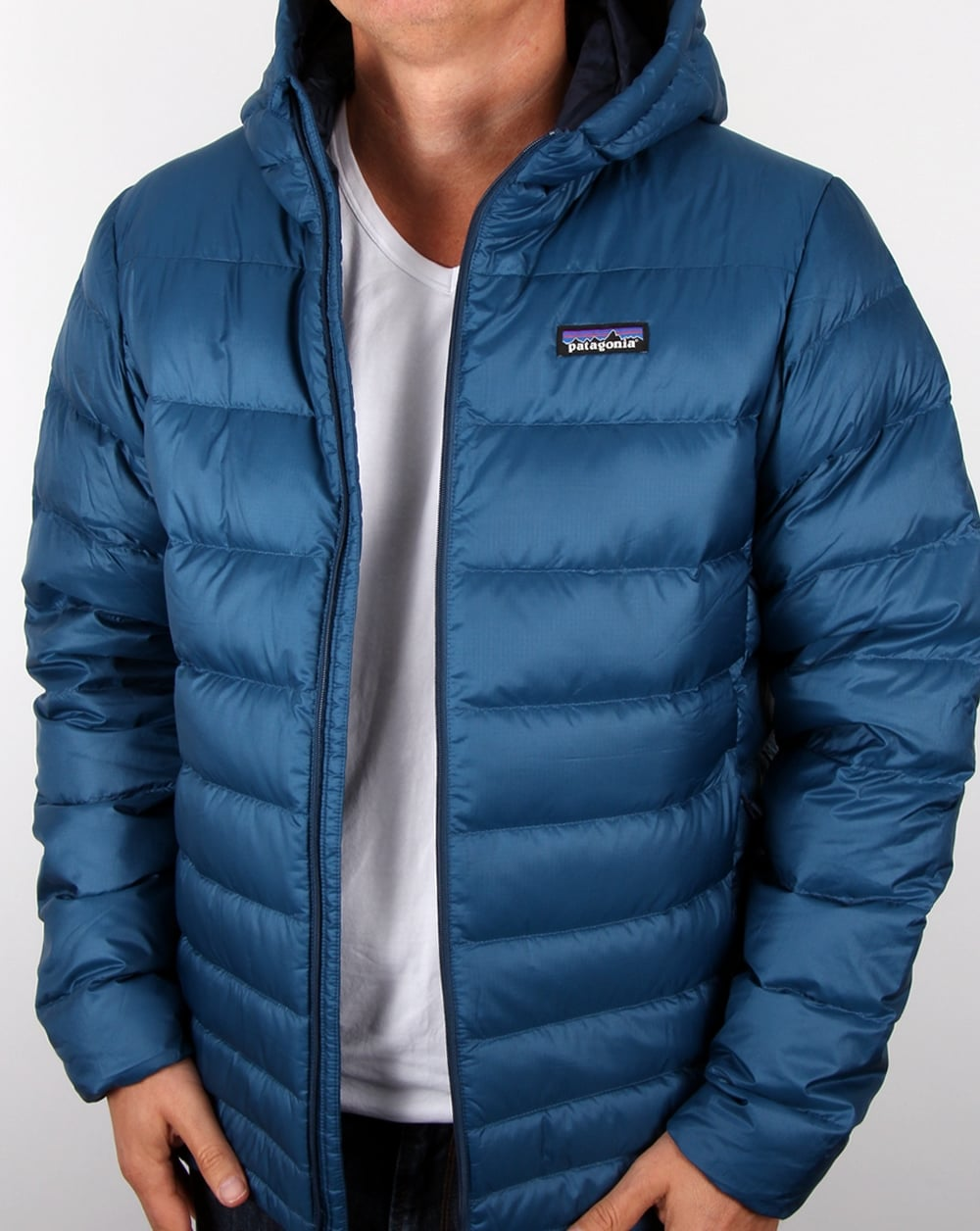 Patagonia Hi Loft Down Hooded Jacket Glass Blue Men S