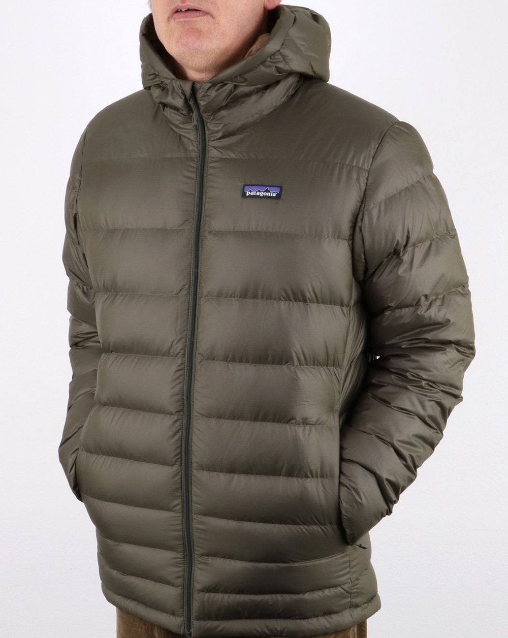 Patagonia Hi Loft Down Hooded Jacket Olive Green 80s