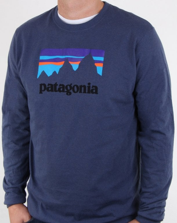 Patagonia Long Sleeve Shop Sticker T Shirt Bunker Camo/Ink Black