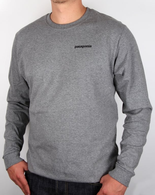 Patagonia P-6 Logo L/s T-shirt Gravel Heather