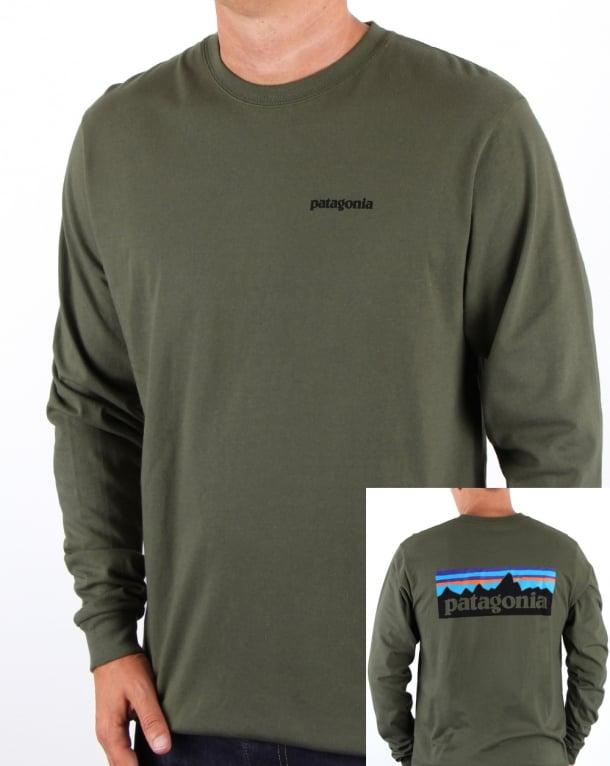 Patagonia P-6 Logo L/s T-shirt Industrial Green