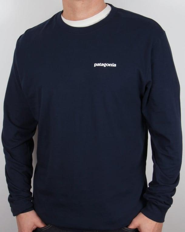 Patagonia P-6 Logo L/s T-shirt Navy