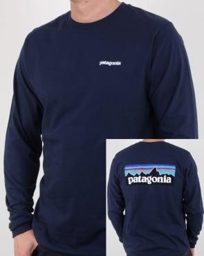 Patagonia P-6 Logo Long Sleeve Responsibili-tee Classic Navy
