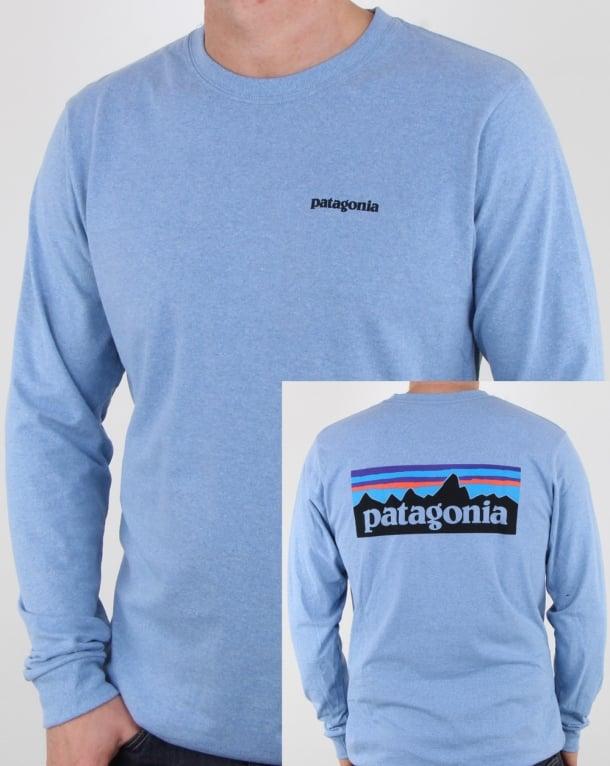 Patagonia P-6 Logo Long Sleeve Responsibili-tee Railroad Blue