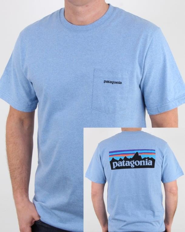 Patagonia P-6 Logo Pocket Responsibili-tee Railroad Blue