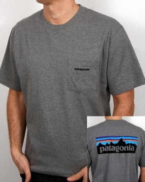 Patagonia P6 Logo Pocket T Shirt Gravel Heather