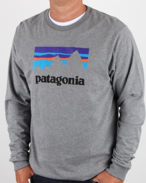Patagonia Shop Sticker L/S T Shirt Gravel Heather