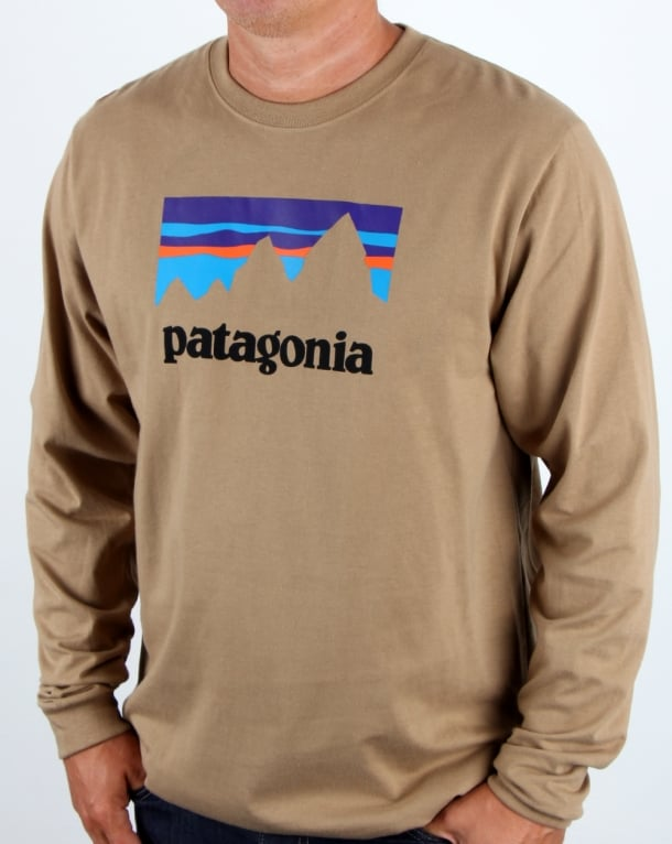 Patagonia Shop Sticker L/S T Shirt Mojave Khaki