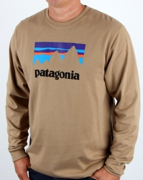 Patagonia Shop Sticker L/S T Shirt Mojave Khaki