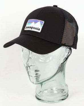 Patagonia Shop Sticker Patch Lo Pro Trucker Hat Black