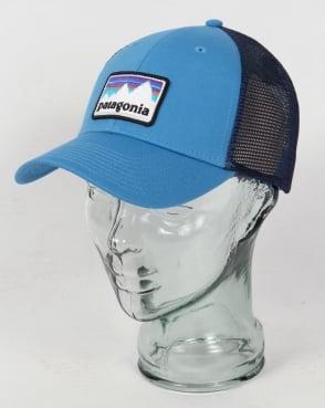 Patagonia Shop Sticker Patch Lo Pro Trucker Hat Radar Blue