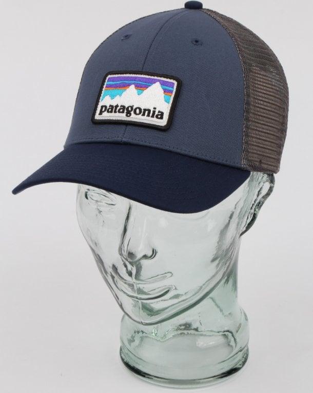 Patagonia Shop Sticker Patch Lopro Trucker Hat Blue