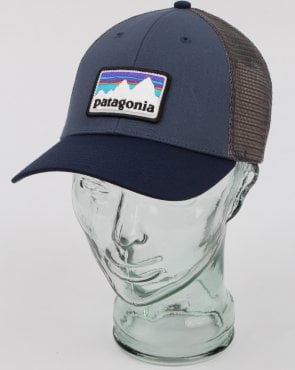 Patagonia Shop Sticker Patch Lopro Trucker Hat Blue