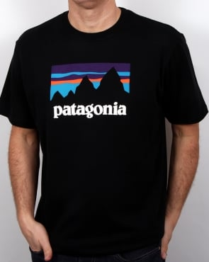 Patagonia Shop Sticker T Shirt Black