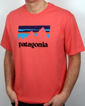 Patagonia Shop Sticker T Shirt Spiced Coral