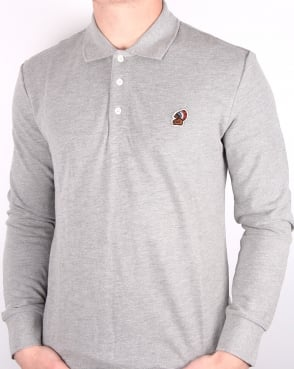 Penfield Mayuk Long Sleeve Polo Shirt Grey