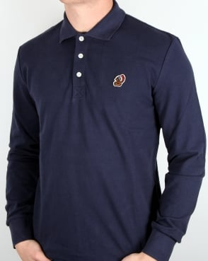 Penfield Mayuk Long Sleeve Polo Shirt Navy