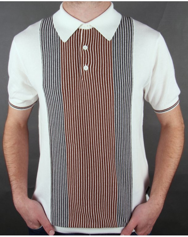Peter Werth Headley Striped Knit Polo Ecru