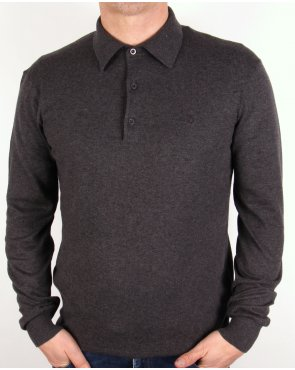 Peter Werth Hemingford Knitted Polo Shirt Charcoal Grey