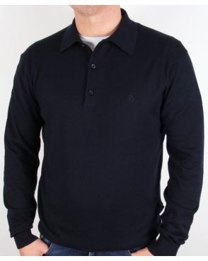 Peter Werth Hemingford Knitted Polo Shirt Navy Blue