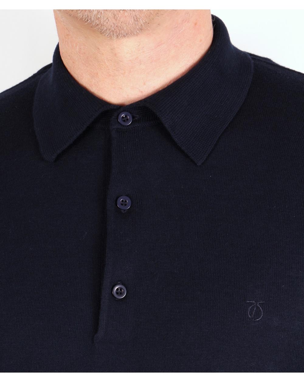 Peter Werth Hemingford Knitted Polo Shirt Navy Mens Cotton