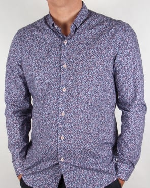 Peter Werth Porter Floral Shirt Blue