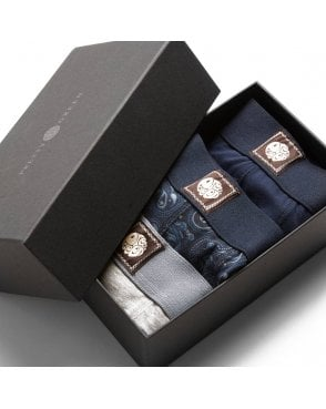 Pretty Green 3 Pack Boxer Shorts Gift Box Navy