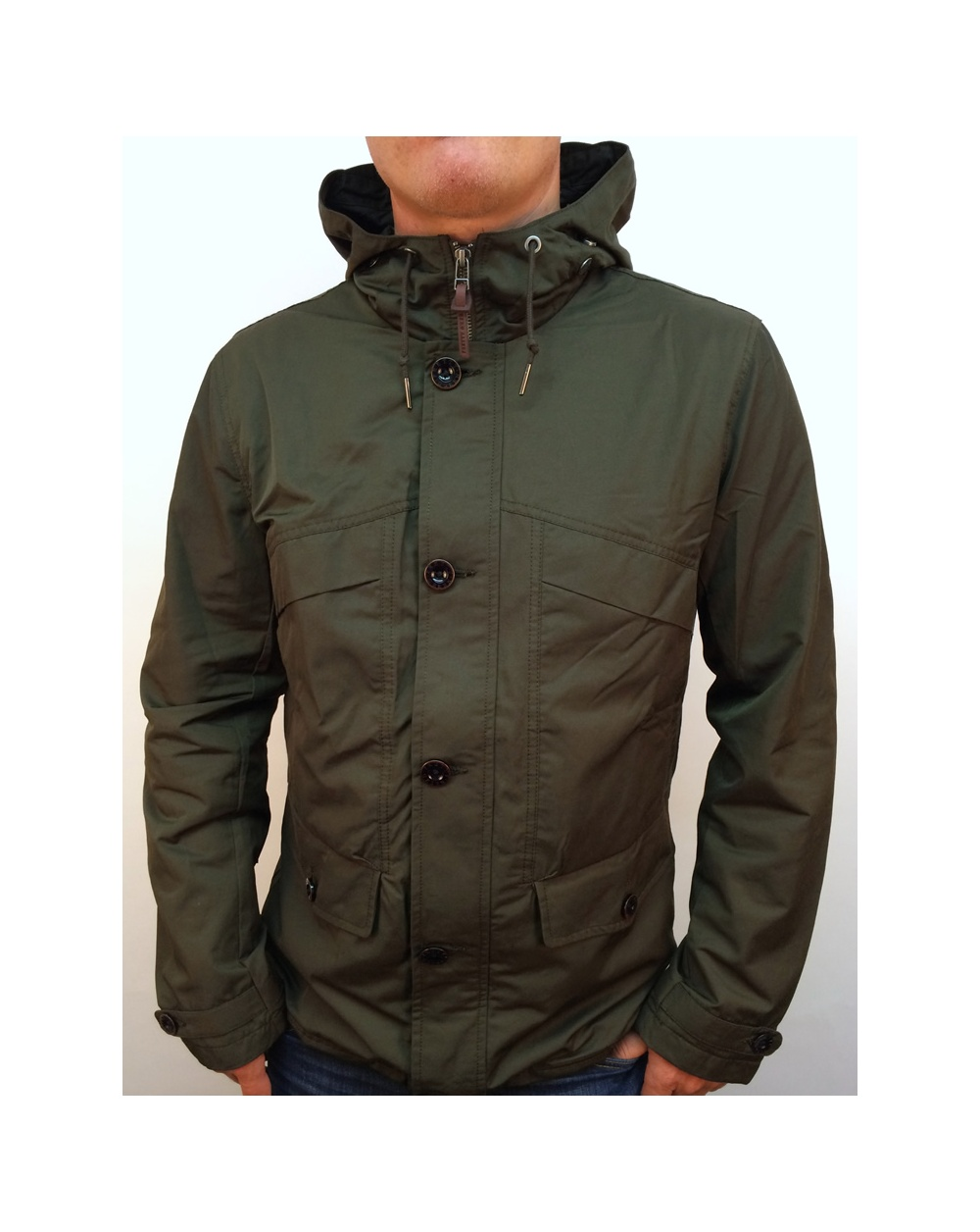 Pretty Green Abbeycroft Hooded Jacket Khaki Green - hooded jacket ...