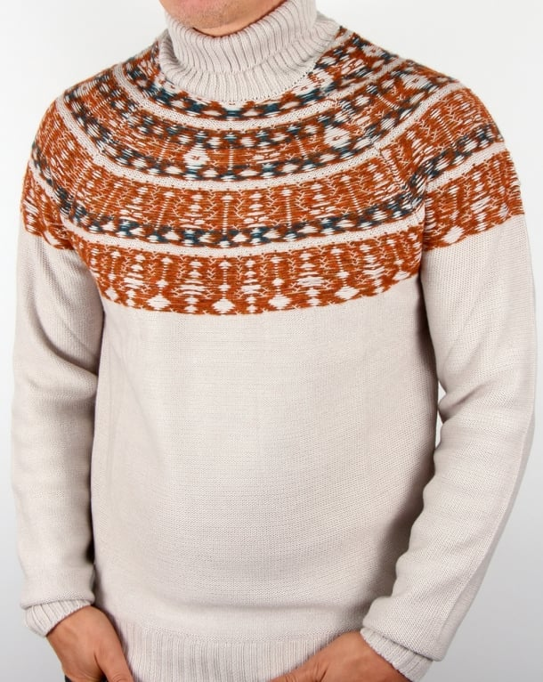 Pretty Green Abbott Knitted Roll Neck Stone