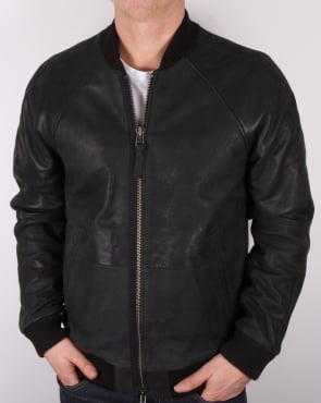 Pretty Green Albion Leather Jacket Black