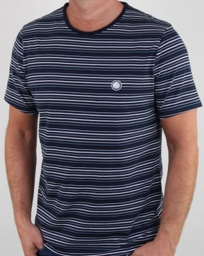 Pretty Green Argenta Striped T Shirt Navy