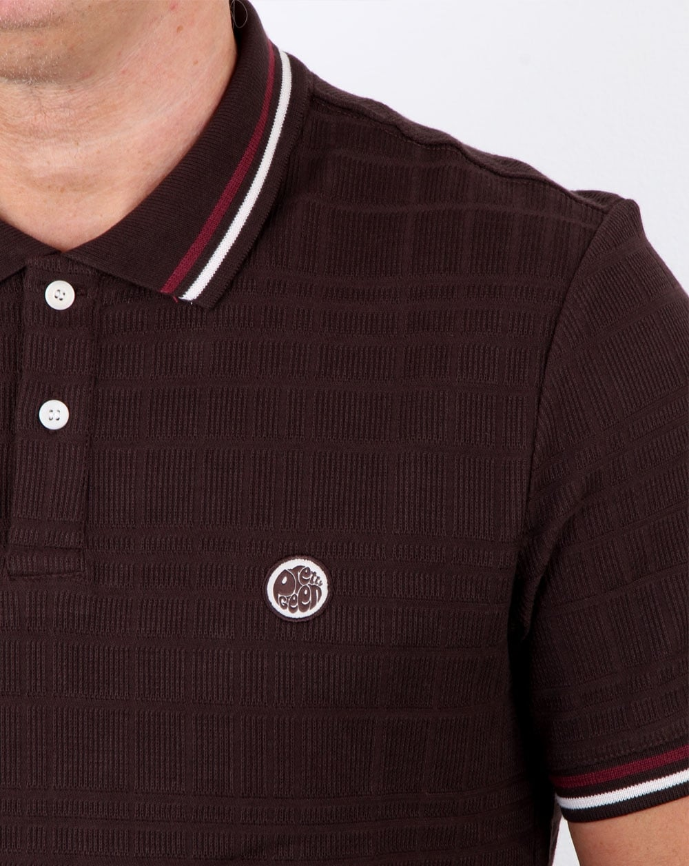 Pretty green arlow polo dark brown mens cotton piping for Black brown mens shirts