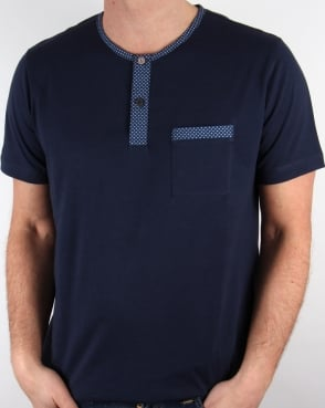 Pretty Green Bankhall Grandad Collar T-shirt Navy