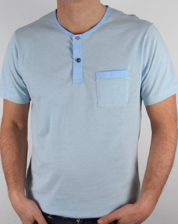 Pretty Green Bankhall Grandad Collar T-shirt Sky Blue
