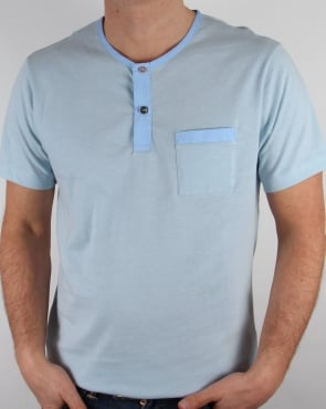 Pretty Green Bankhall Grandad Collar T-shirt Sky Blue
