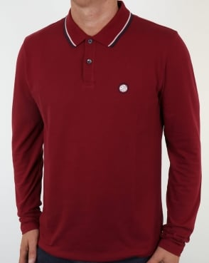 Pretty Green Barton Long Sleeve Tipped Polo Dark Red