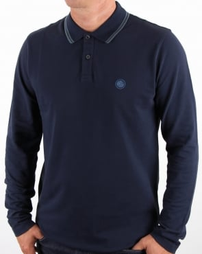 Pretty Green Barton Long Sleeve Tipped Polo Navy