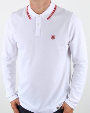 Pretty Green Barton Long Sleeve Tipped Polo White