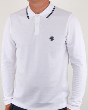 Pretty Green Barton Ls Tipped Polo White/navy