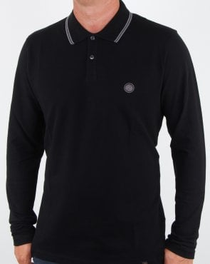 Pretty Green Barton Ls tipped style Polo Black