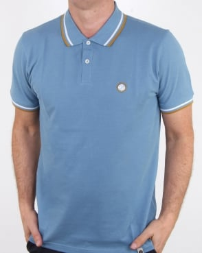 Pretty Green Bassline Polo Shirt Mid Blue