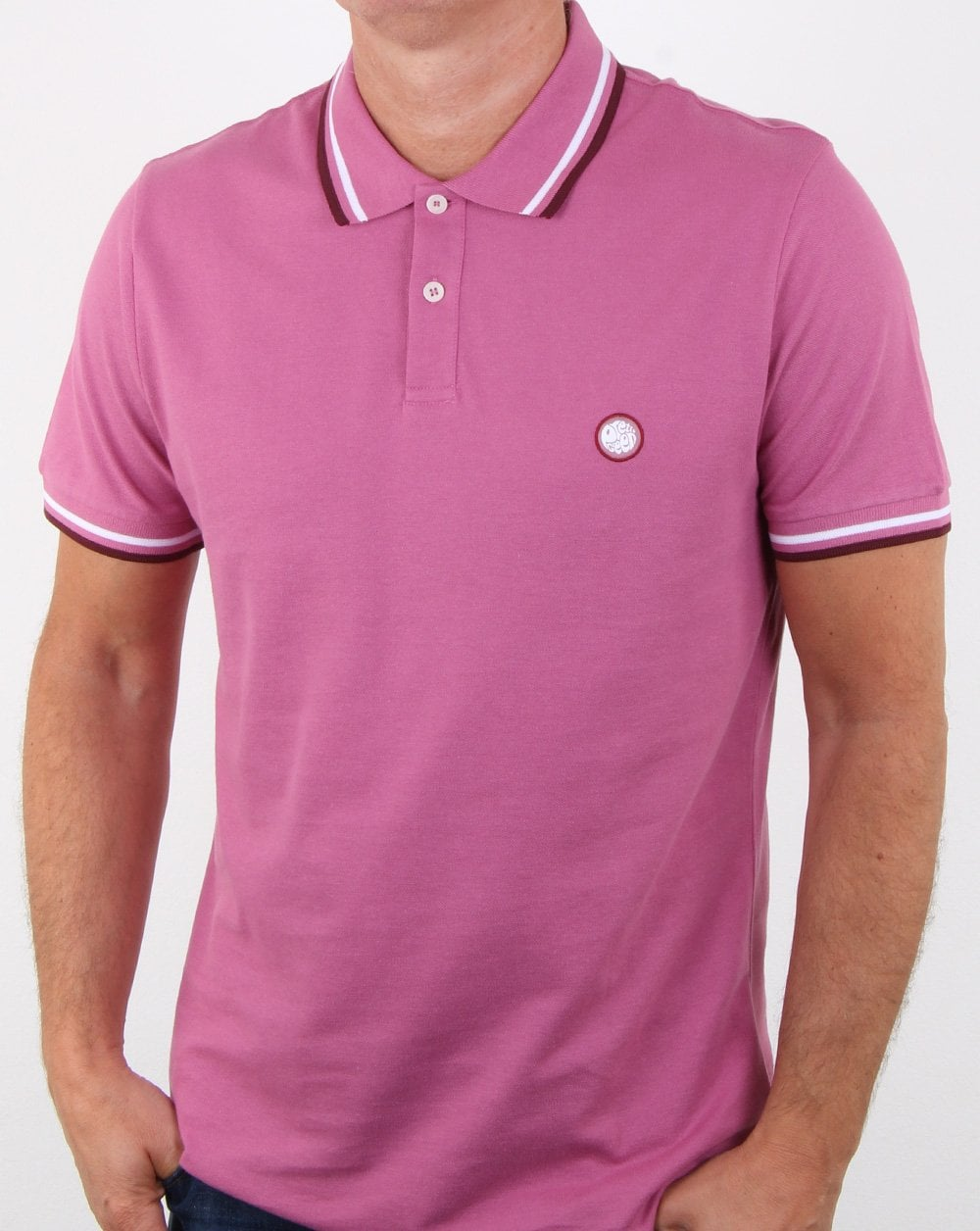 Pretty Green Bassline Polo Shirt Pink Mens Polo Cotton Gallagher
