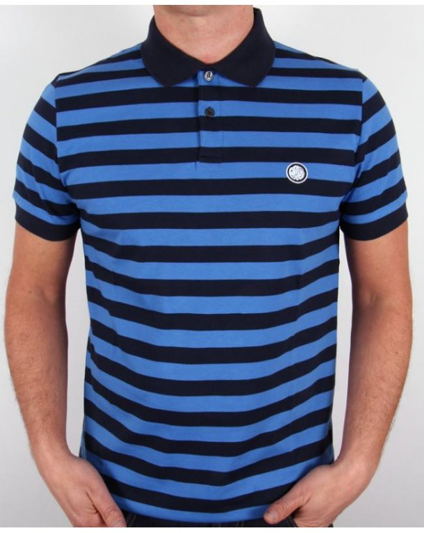 Pretty Green Block Stripe Polo Shirt Navy/royal Blue