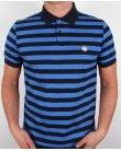 Pretty Green Block Stripe Polo Shirt Navy/royal Blue