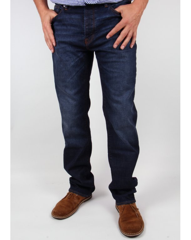 Pretty Green Burnage Regular Straight Fit Jeans 6 Month Wash